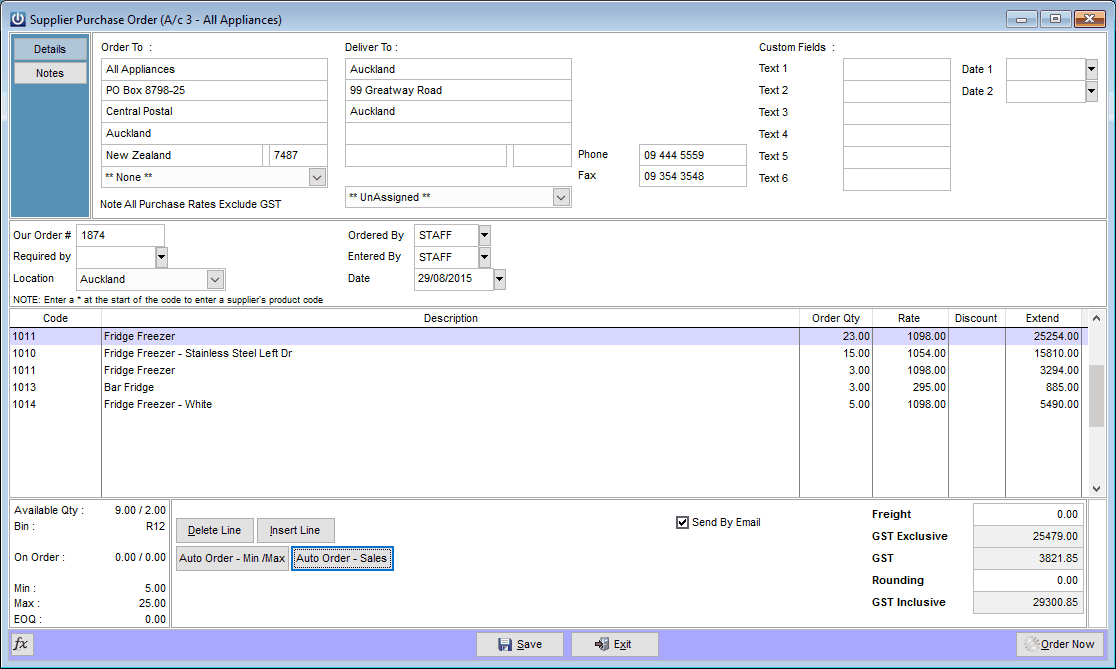 create purchase order
