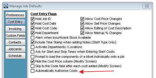 Authorise Cost