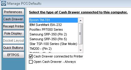 Cash Drawer Default