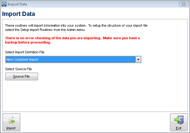 Customer Import Data