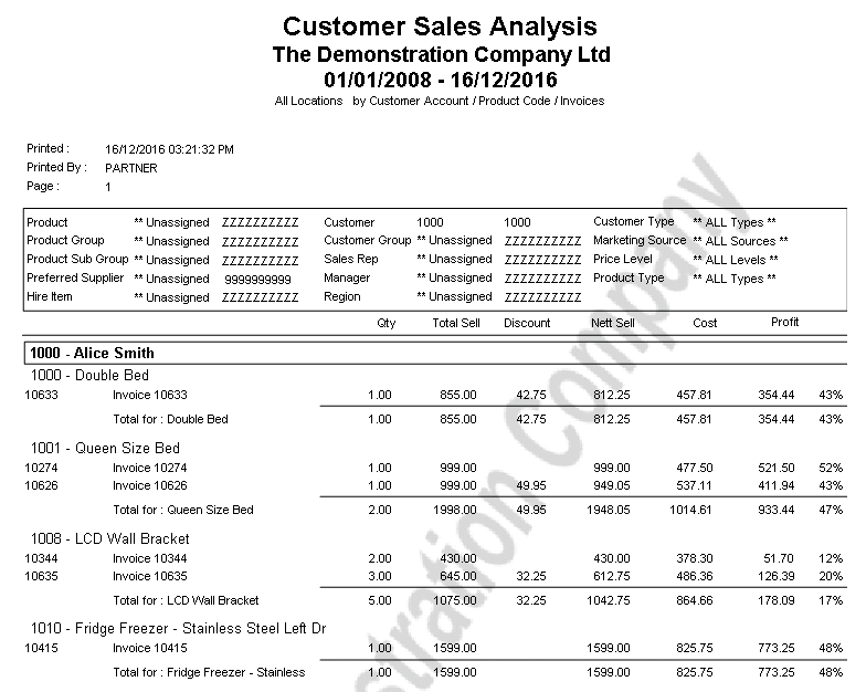 Customer Sales Analysis Product Report