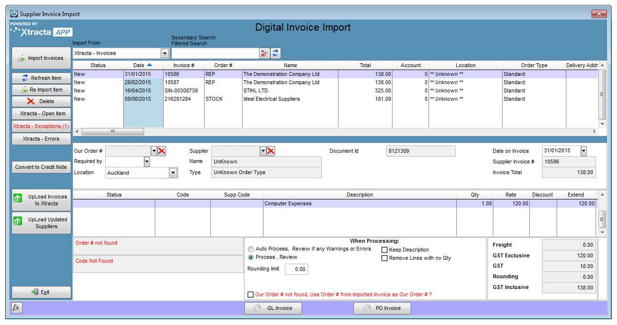 digital invoice import process support notes infusion business