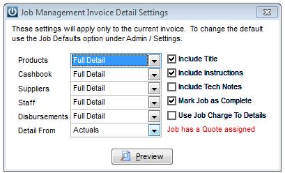 Deposit on Job 1
