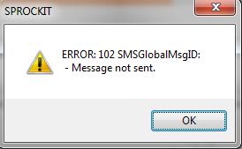 Error 102 SMS