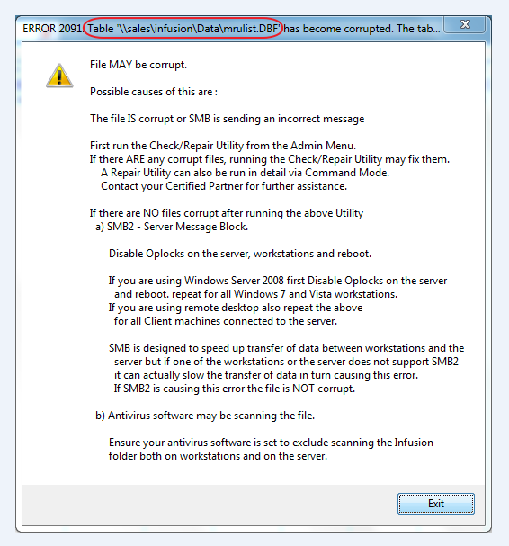 Error 2091 – Infusion Business Software