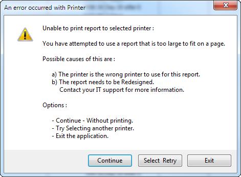 Error with Printer report