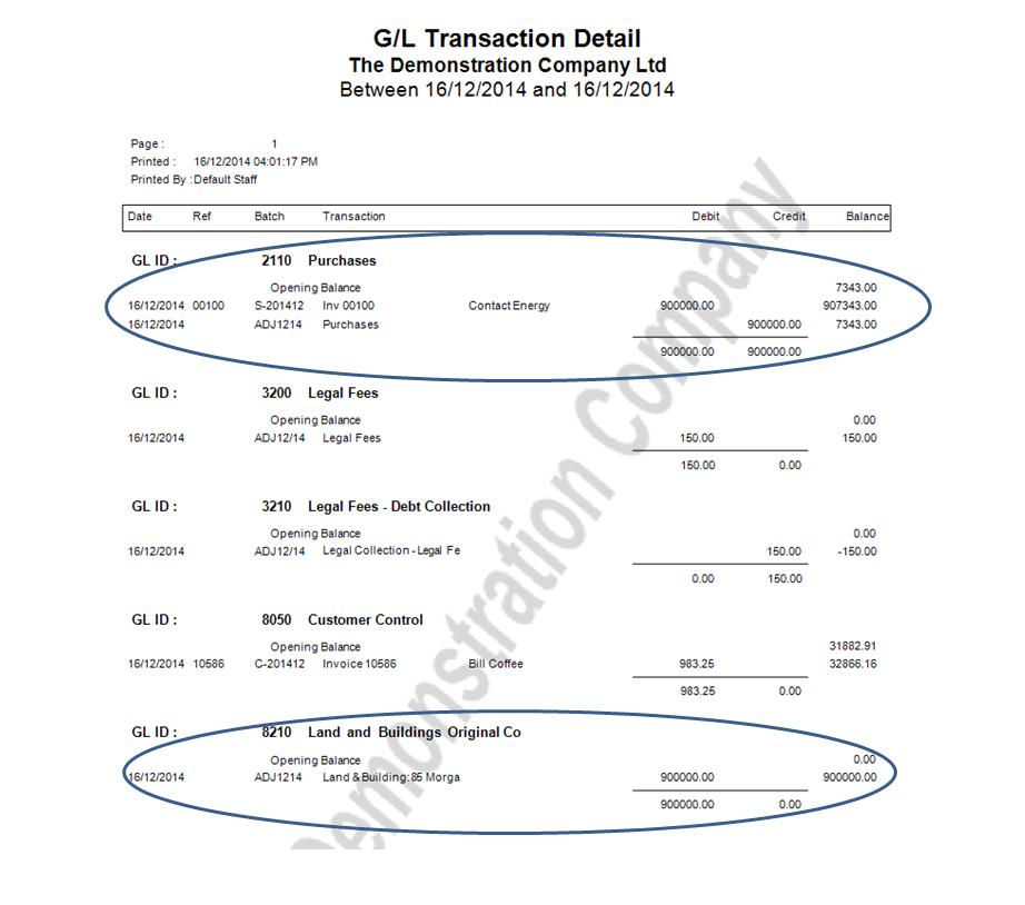 GL Asset Report