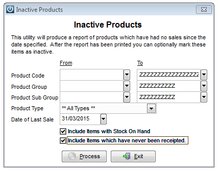 Inactive Products Report
