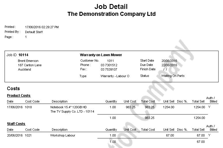 Job Order Report