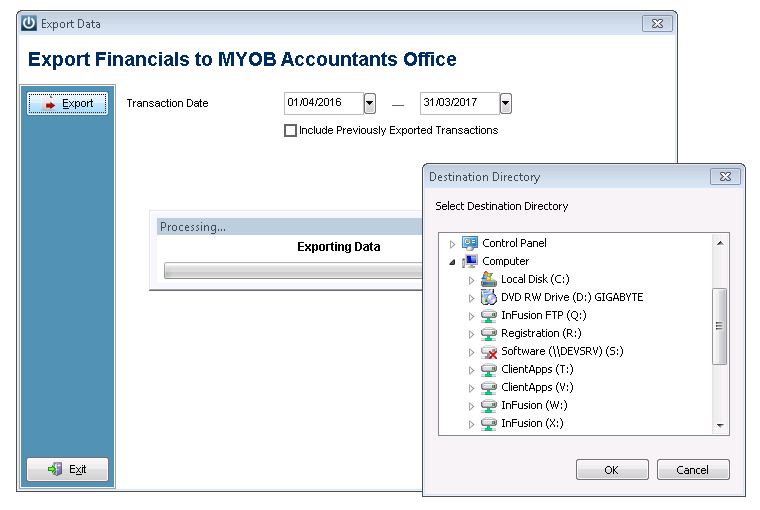 MYOB Export Save