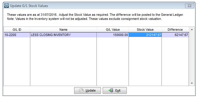 Managing Stock Update GL