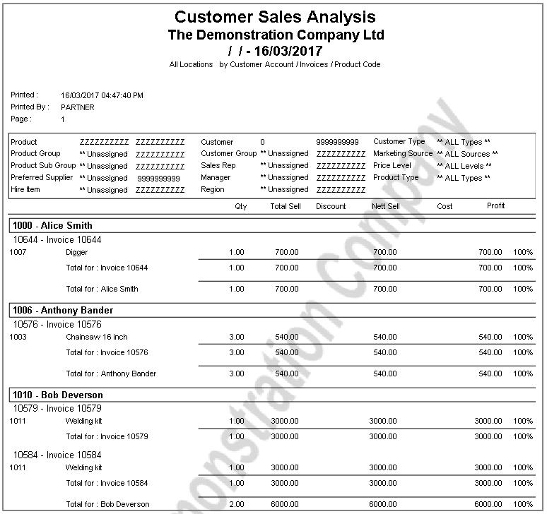 Rental Hire Sales Report