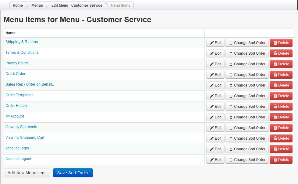 Webstore Customer Service Menu