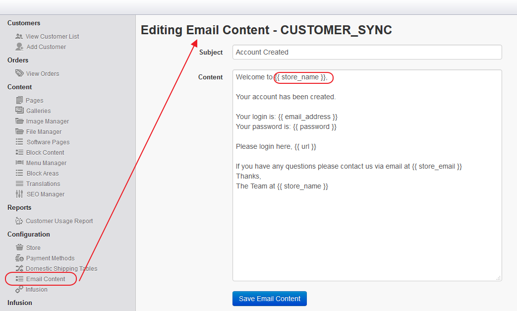 Webstore Email Customer Sync